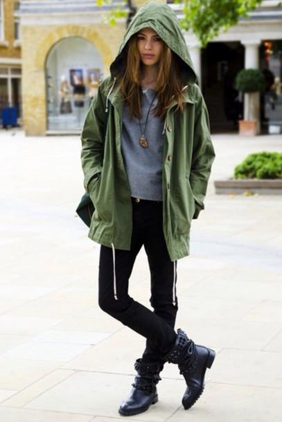 jacket parka army green jacket tumblr clothes light weight army green fashionable jacket coat green raincoat hood
