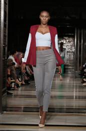 pants,top,bustier,crop tops,runway,fashion week 2016,pumps,london fashion week 2016,jacket