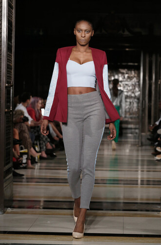 pants top bustier crop tops runway fashion week 2016 pumps london fashion week 2016 jacket