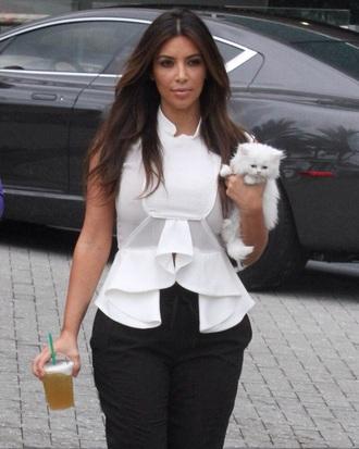 kim kardashian white top ruffle