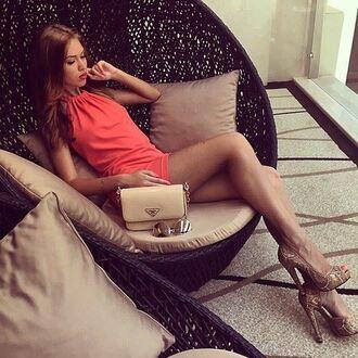 dress sommer dress plain coral coral dress plain dress sommer elegant mini dress short dress