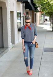 sweater,scarf,tumblr,blue sweater,july 4th,denim,jeans,blue jeans,shoes,flats,ballet flats,ripped jeans,bag