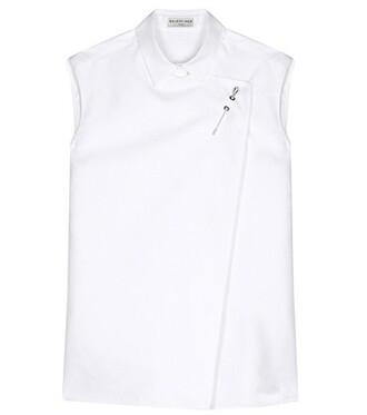 shirt cotton silk white top