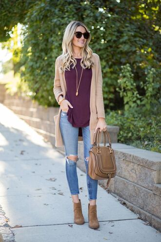 cardigan camel cardigan camel tumblr top burgundy burgundy top bag brown bag denim jeans blue jeans skinny jeans ripped jeans boots ankle boots brown boots sunglasses necklace fall outfits