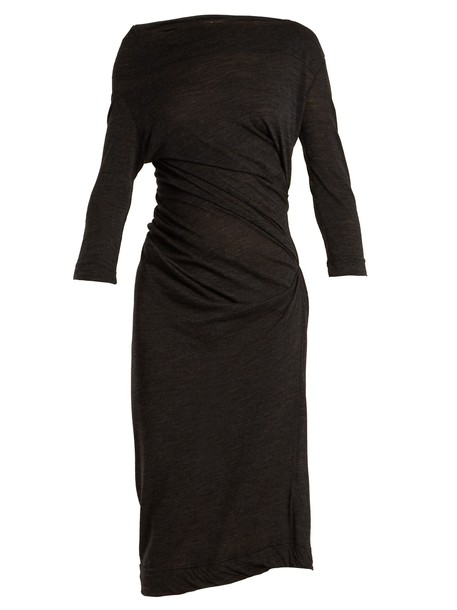 dress jersey dress draped dark grey