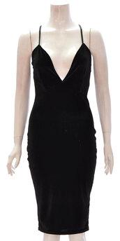 dress,women velour v neck cross back velvet dress black