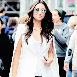 sunglasses mirrored sunglasses white blazer blazer white top shay mitchell celebrities in white celebrity style celebrity necklace