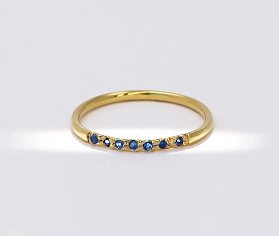 Minimal Ring - Blue Cz Gold Ring - Dainty Ring - Band Ring - Gifts for girlfriend