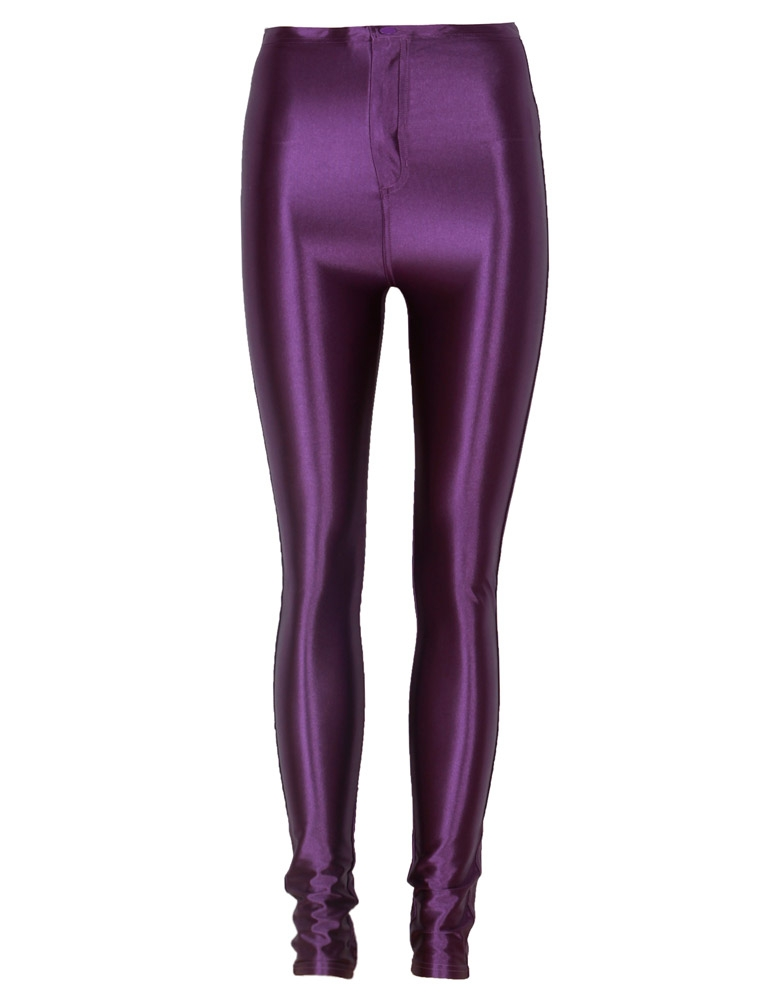 Purple High Waist Shiny Disco Pants