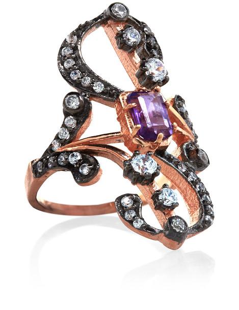 rose gold rose ring gold purple jewels