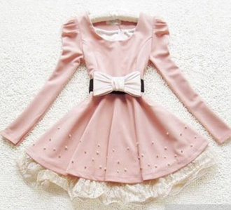 dress bows collar beads pink pink dress long sleeves white bow