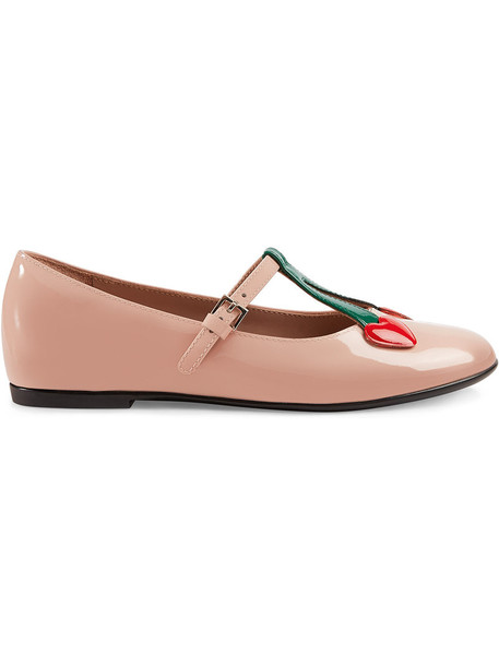 Gucci Kids heart ballet bee leather purple pink shoes