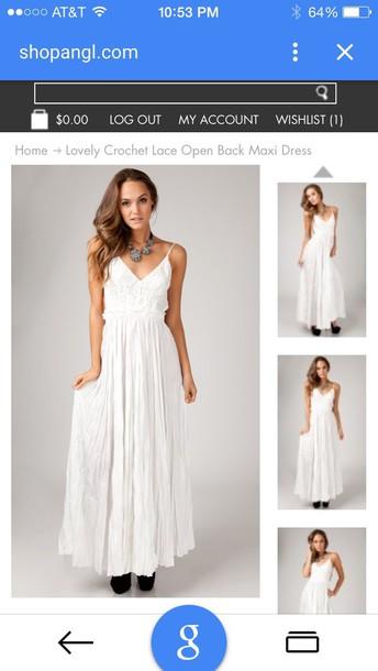 dress maxi dress white crochet open back