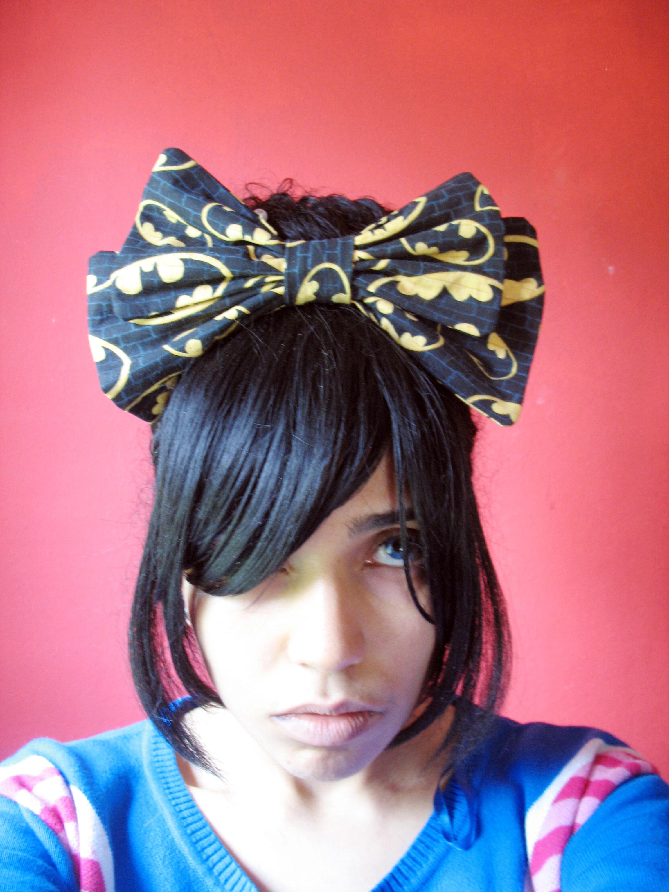 Lolita style batman hair bow headband
