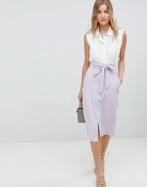010e5ab4f ASOS DESIGN tailored pencil skirt with obi tie at asos.com