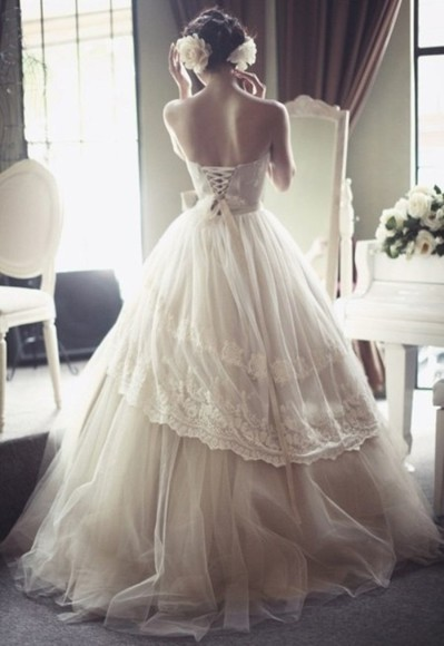 bustier dress ribbon wedding clothes wedding dress corset ballroom laced long dress lace tulle