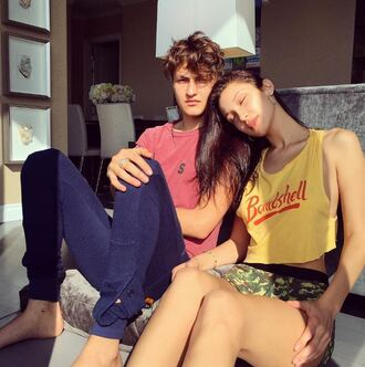 top shorts bella hadid model off-duty instagram anwar hadid camouflage print lazy day