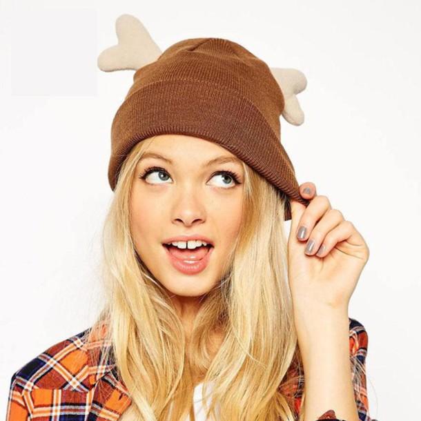 hat beanie hipster christmas deer it girl shop blonde hair cute style girly  girl girly wishlist ddabc59e185