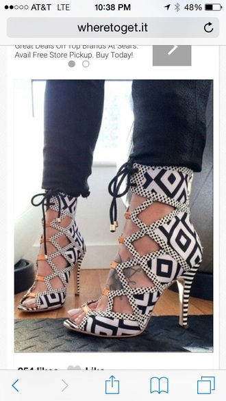 shoes aztec laced up heels black and white gold