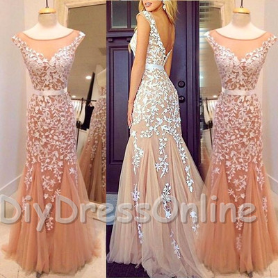Mermaid champagne tulle ivory lace mermaid 2015 prom dresses long evening gowns apd1414 · diydressonline · online store powered by storenvy