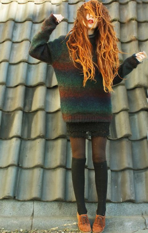 sweater weather stripes striped sweater long sleeves green orange vintage retro soft grunge grunge soft grunge sweater oversized long loose loose fit sweater soft grunge top oversized sweater loose shoes red hair sweater fall outfits winter sweater knee high socks hippie style longhairlovers grungy hipster