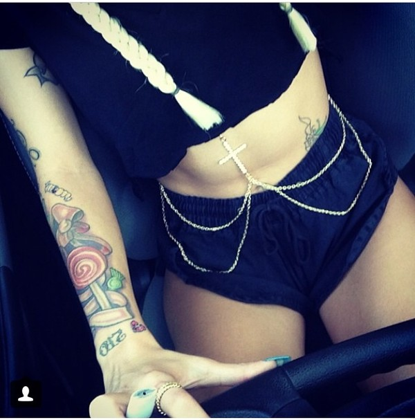 jewels lil debbie gold body chain pants