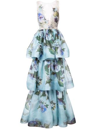 gown women layered floral blue silk dress