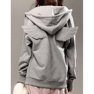 jacket hoodie kawaii wings japan japanese japanese fashion grey grey hoodie sweater sweatshirt angel wings beautiful white girly girl