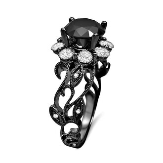 jewels flower style ring round black diamond ring black engagement ring 1.75 carat round cut black diamond floral design halo engagement ring with white diamond prong set ring evolees.com