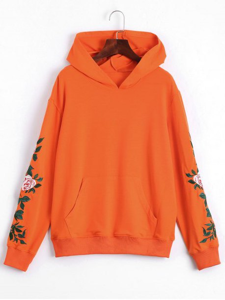 sweater hoodie orange long sleeves fashion