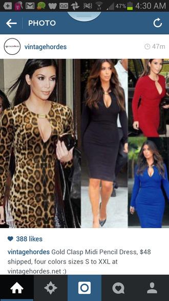 dress red dress leopard dress black dress long sleeve dress kim kardashian
