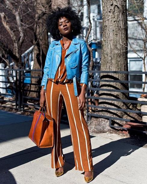 bag brown bag pants striped pants top jacket blue jacket leather jacket tote bag wide-leg pants stripes striped top