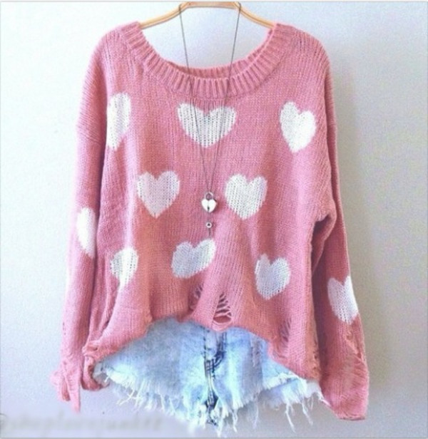 sweater cute fashion heart shorts