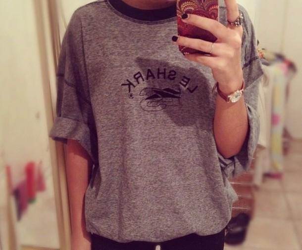 t-shirt grey top navy blue tshirt t-shirt