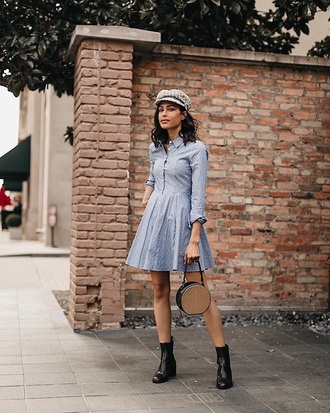 dress blue dress mini dress shirt dress hat boots black boots fisherman cap bag round bag ankle boots