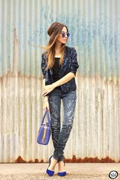 fashion coolture,blogger,pants,jacket,bag,sunglasses,shoes,embellished denim