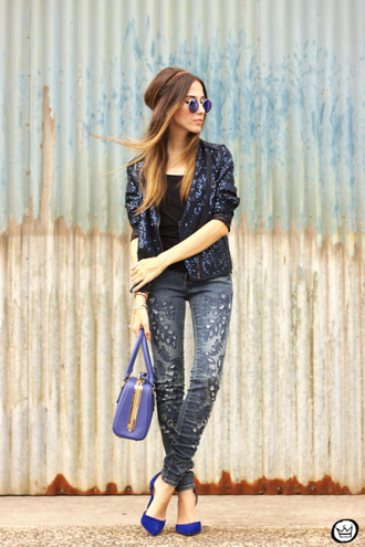 fashion coolture blogger pants jacket bag sunglasses shoes embellished denim
