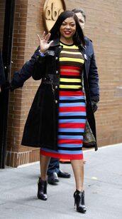 dress,stripes,striped dress,midi dress,fall outfits,taraji p. henson
