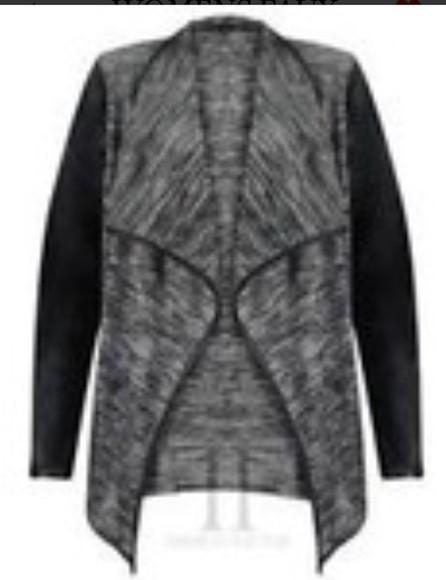 jacket grey marl black leather grey and black waterfall