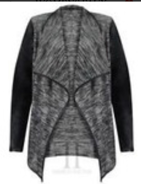 jacket grey marl black leather grey and black waterfall
