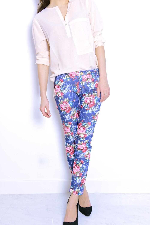 Blue floral print skinny stiletto