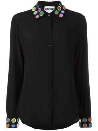 blouse embroidered women black silk top