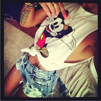 shirt disney mickey mouse t-shirt top tank top shorts tattoo ring bracelets summer beautiful girl