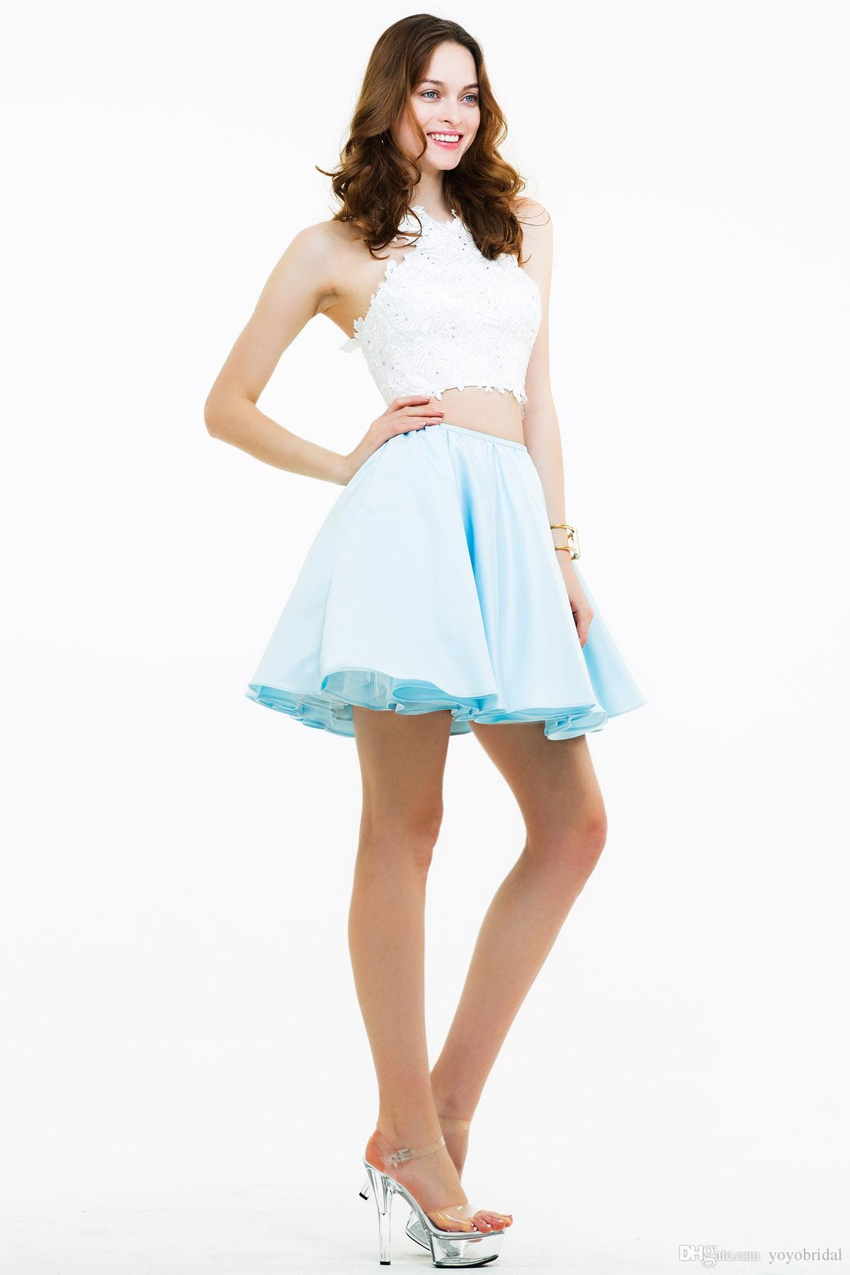 light blue party dresses two pieces summer party wear