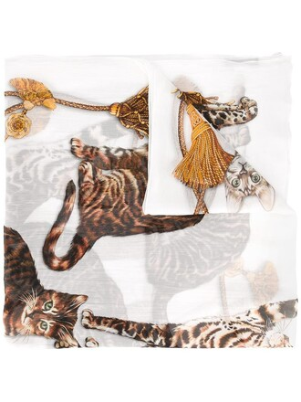 women scarf white print silk