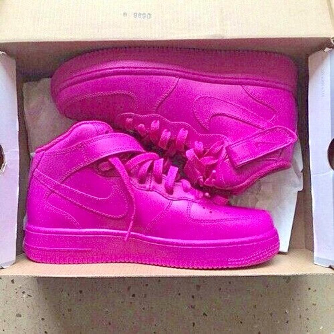 New Custom Nike Hyper Hot Pink Fushia Air Force 1 Mid