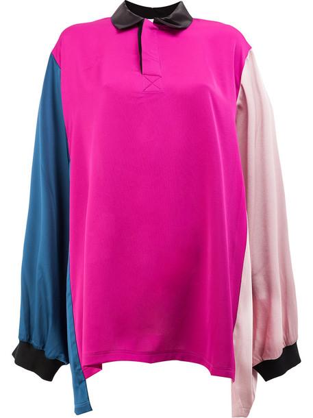 Koché top women silk purple pink