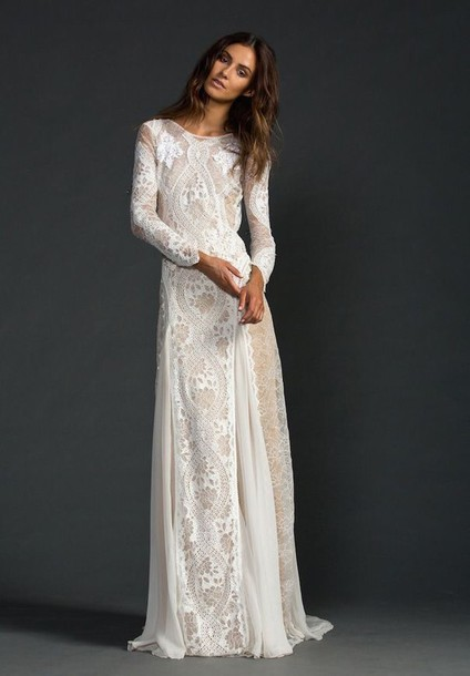 dress, white, wedding, boho, hippie, prom, ball, me, love, lace ...