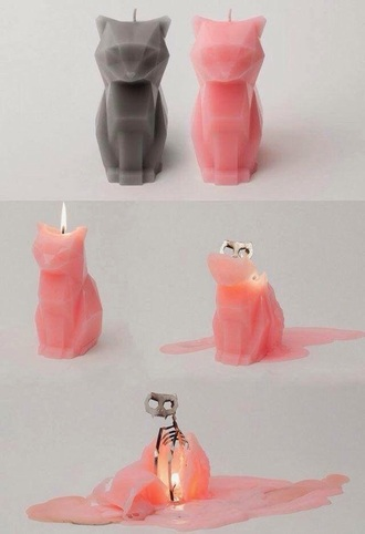 home accessory candle skull cats catskull pink grey metal cat candle halloween decor