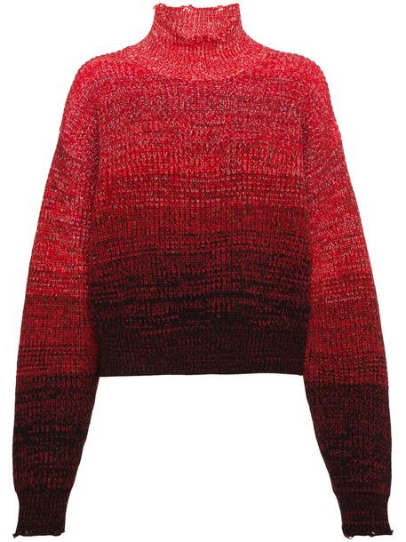 Helmut Lang jumper high women high neck cotton wool red sweater